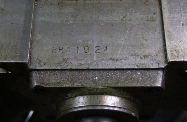 BR41921 is the serial number of my trusty Bridgeport milling machine which corresponds to a manufacturing date of 1958.