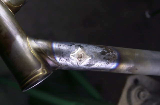Di2 first step silver brazing the diamond reinforcement on the down tube.  Frame will go on the Bridgeport tomorrow to drill the hole for the grommet.