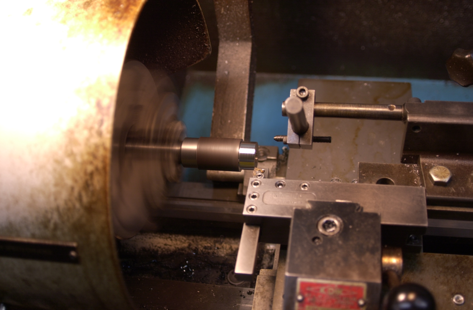 """Brazed carbide body 3/4"""" shank has been turned on the batch of 28.6mm cutters and this photo is of the turning operation to fit-up the carbide ring.  Next operation is grooving for the pre-form ring of 56% silver."""
