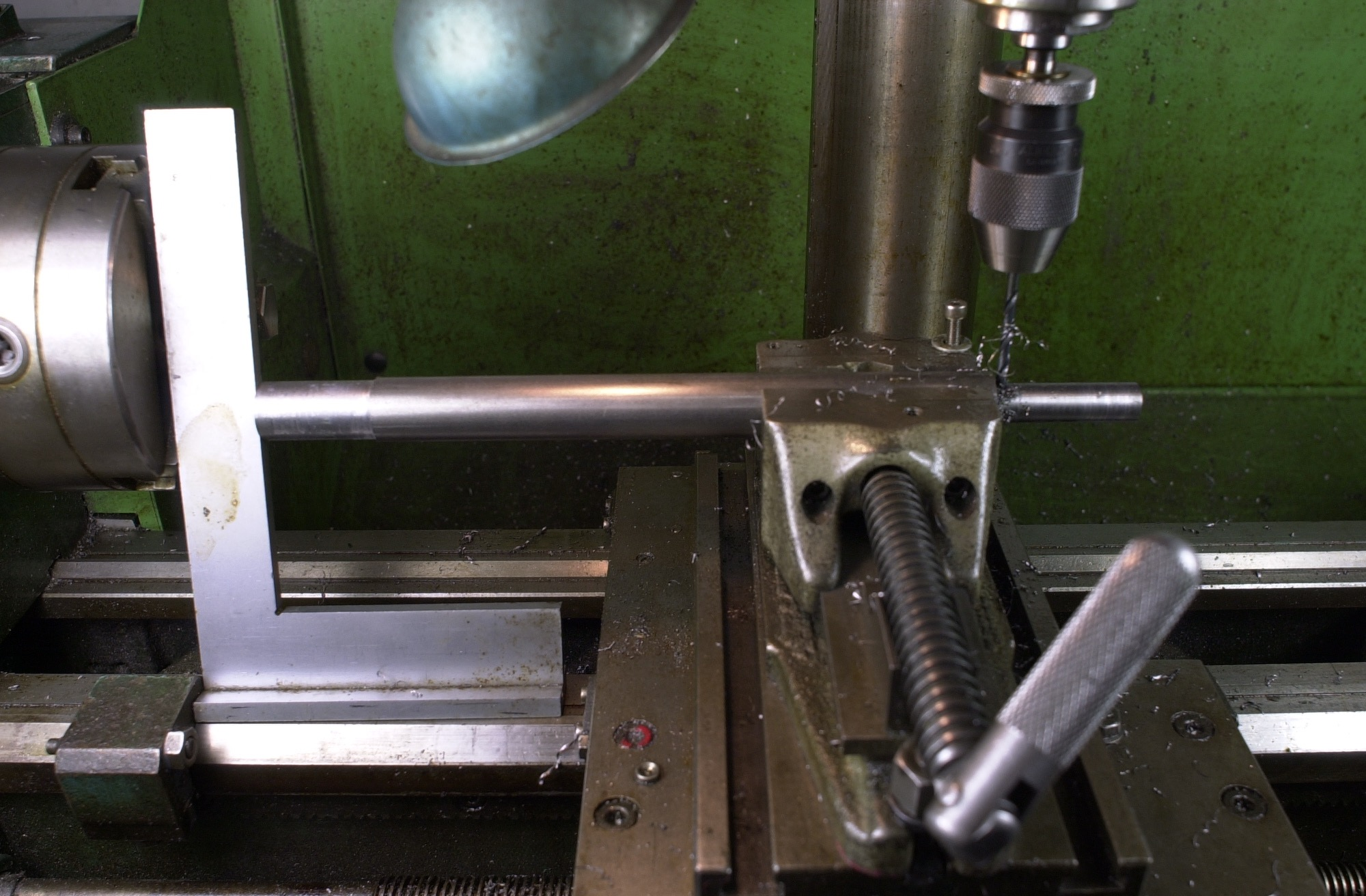 """New longer seat tube reamer arbors to ream for dropper seat posts are in process.  The above photo shows the dowel pin drilling set up.  Once the hole is drilled a 5/32"""" dowel pin is set which secures the Silva HSS helical seat tube reamer."""