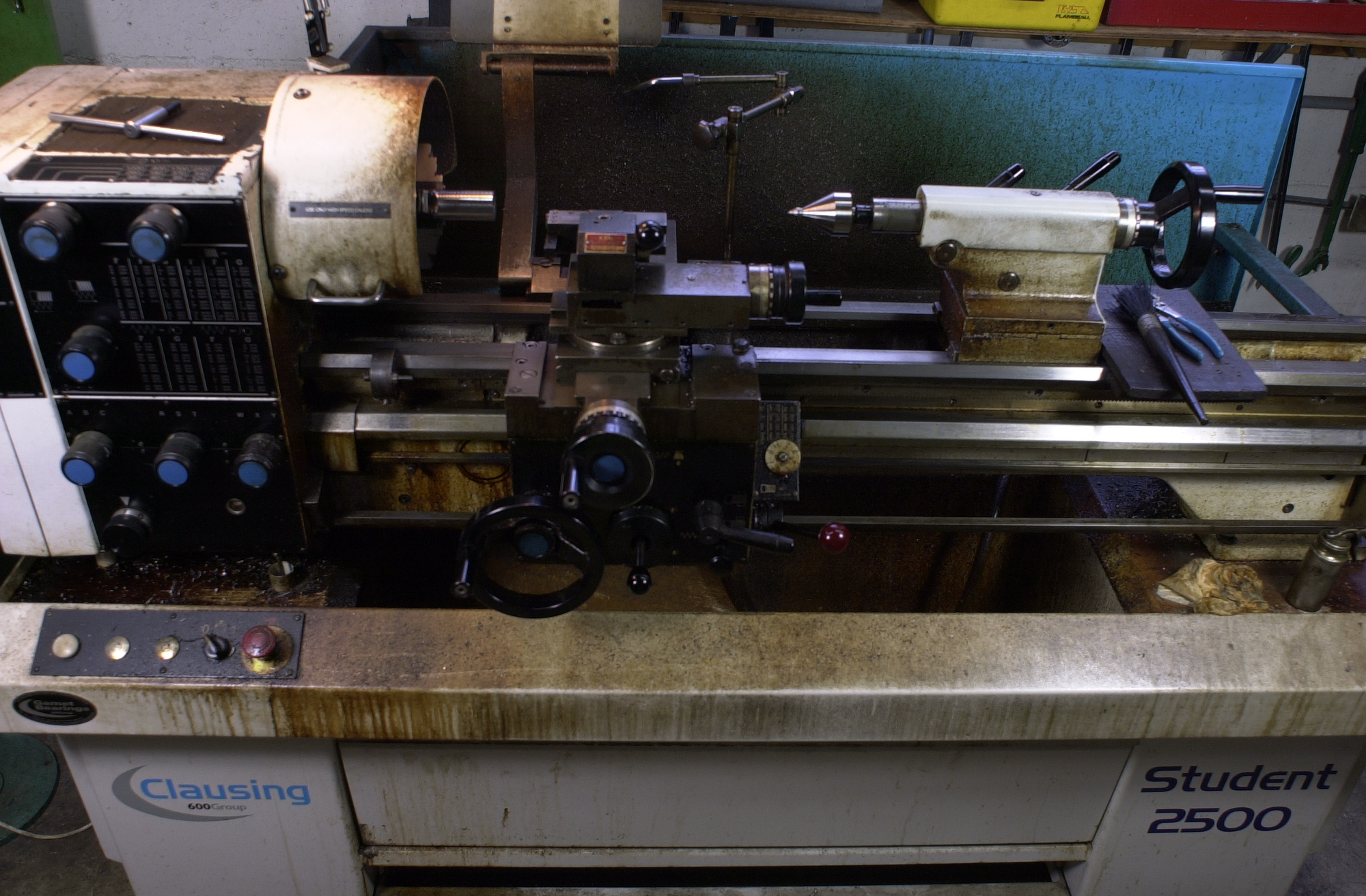 Lathe turning brazed carbide mitre cutter bodies on the Clausing lathe in the Strawberry/Torch and File workshop.
