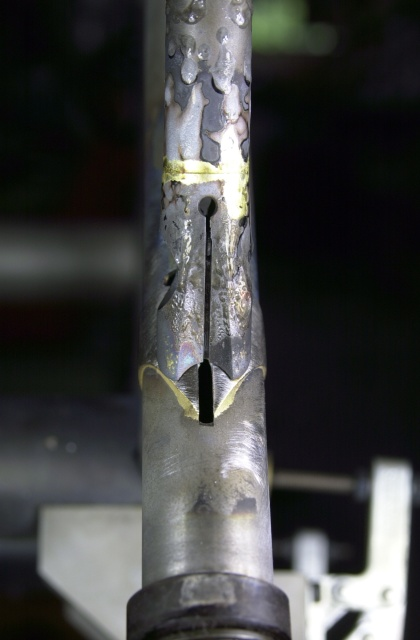 Close up of the top stay/seat lug binder brazing.  Brass preform is used for this joint and silver will be used to braze the binder to the seat lug.