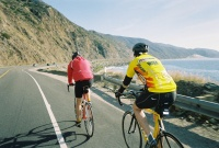 2006 SB Bike trip. Another pic of Dave and friend riding along the coast north of Santa Barbara.  Note: buddy has just about dropped off Dave's wheel.  That S-----a bike just can't keep up with a Strawberry.