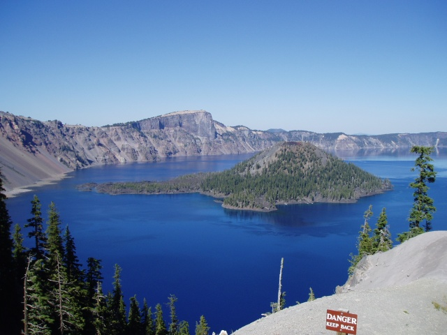 2007 Cycle Oregon.  Close up of Wizard Island, Crater Lake National Park.