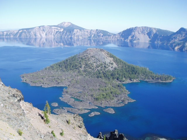 2007 Cycle Oregon.  Another view of Wizard Island in Crater Lake.