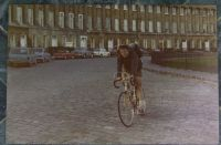 Bath, England 1970.  Photo of yours truly on my new Bob Jackson bike cycling past the Royal Crescent on our bike tour to Devon.  Peter Stoel photo.