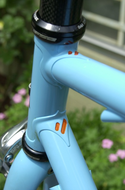 Cristina's frameset 1405.  36mm. head lugs with orange picked out chevron cutouts.