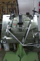 Pic of frame no. 7018 held in the Marchetti ML 301/G-500 frame brazing fixture during set up check prior to brazing.