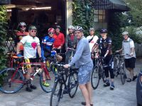 Photo taken outside the Strawberry Garage of Sunday morning framebuilder ride at the 8th. annual Handmade Bike and Beer Festival.  We rode up into the West Hills on a beautiful morning.  I had a flat on the descent but did not hit the pavement.  The cyclists include from left:  Dave/Mjolnir Cycles, Puyallup, WA; Andy/Strawberry Bicycle, Portland, OR; Greg/Magic Cycle Werks, Bend, OR; Kevin/Portland Fender Co, Portland, OR; Koushou/Helavna Cycles, Tokyo, Japan; Steve/Ti Cycles, Portland, OR; Shun/East River Cycles, Tokyo, Japan; Chris/Henry James Bicycles, Portland, OR; Dave/Ti Cycles, Portland, OR.