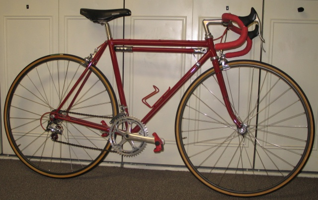 Mid 1970's Strawberry and still riding well.  Brazing and finishing by Mark Di Nucci and machine work by Andy Newlands.  Invoice value under $300 for the complete custom bike.  UPS Second Day Air from Portland to Wisconsin $9.75.  Thanks Norm.