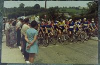 N. France some small town, 1970.  I cycled across northern France and happened on two farming communities holding a joint festival which included a bike race.