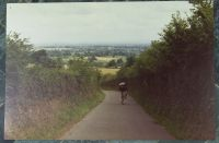 After leaving London and cycling through the Salisbury Plain, Peter and I headed to the Quantock Hills then down to Devon.  Yours truly cycling a country lane in the Quantock Hills.  Photo by Peter.  1970.