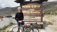Marco has summited the Gavia Pass on his Strawberry, August, 2018