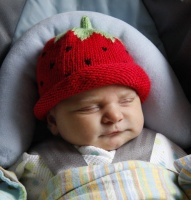 Madeline Chaney, daughter of Heather and Sean Chaney modeling the Strawberry winter warmer chapeau.  Congrats to Sean and Heather.