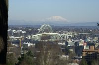 View of Mt. St. Helens and the I5 Fremont Bridge taken from Market Street just up from the Strawberry World Headquarters.