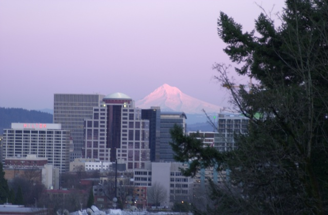 Mt. Hood over Portland 5:55pm Feb. 2006.
