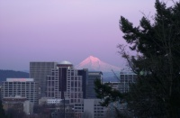 Mt. Hood over Portland 5:57pm Feb. 2006.