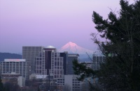 Mt. Hood over Portland 5:59pm Feb. 2006.