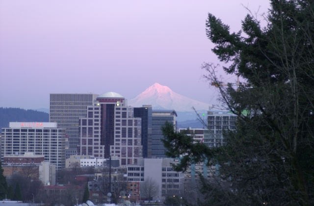 Mt. Hood over Portland 6:01pm Feb. 2006.