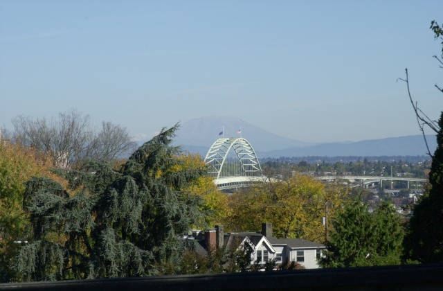 Pittock Mansion Walk, Autumn 2006.  View to the northeast from the Vista Bridge.  Fremont Bridge and Mt. St. Helens in the distance.