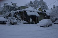 January 11th, 2017.  Snow covering our building in Goose Hollow, Portland, Oregon USA.  Home to Strawberry Bicycle, Torch and File wholesale bicycle framebuilding tools and supplies and Kelley R. Dodd Graphic Design and home to Andy, Kelley, Winnie and Alba.