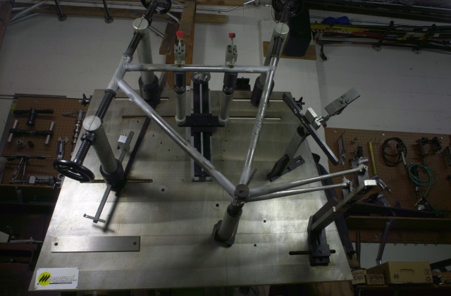 The frame is fitted up on the Marchetti frame fixture for the final check before brazing tomorrow.