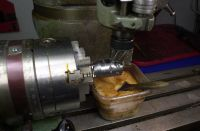 Tapper bodies have moved from the lathe where a 20 degree chamfer was turned and are back on the Bridgeport milling machine for step no. 11 -milling the flats for the stainless steel handles.  The bodies are secured in the Super Indexing Spacer and a two inch diameter shell endmill is used to machine a 2mm deep x 40mm long flat.