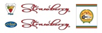"""Strawberry decals red-01.  45 year commemorative decals designed by Kelley R. Dodd (www.krdpdx.com) and manufactured by Gary Prange (www.sssink.com).  These dry-fix decals are for professional application and must be clear coated for durability.  $25 postpaid.  To order, please contact Andy. PayPal and good check accepted.  Why the name Strawberry?  Sort of a long story.  In 1970 after graduating from engineering school, I lived in the Cotswolds near Bulls Cross, Stroud, a few miles from Gloucester.  Once a week I rode in a  massed start road race in the Bristol area and during one of the train trips down to Bristol I learned of a road race across the English/Scottish border held the week before the Commonwealth Games in Edinburgh.  This sounded like an adventure, so I headed north on the train with my new Bob Jackson bicycle.  The road race included national team members and it was no sooner apparent that I was out of my depth than I was desperately off the back of the pack touring the highlands of Scotland.  A week later the weather was still abysmal but the scenery cycling down Loch Ness was beautiful.  Returning south, I spent a few days in London and ordered a Hetchins cycle frame for a girlfriend.  My interest in cycle frame construction was piqued by the Hetchins shop visit.  Fast forward, I returned to Portland and thought to attempt to fabricate cycle frames, but under what moniker?    My father, Lawrence Fraser Newlands, Scottish on both sides, suggested the Fraser crest.  Research into the Fraser name in Scotland shows Norman roots from the mid - 12th. century and that it is derived from the French word fraise, meaning Strawberry.  However, the origin of the name Fraser is disputed, and indeed, the name may be a pun on the strawberry flowers on the Fraser heraldic crest.  All in good humor, the name """"Strawberry Bicycle"""" was trademarked in 1971.  The new version decals shown above include the Fraser moto: Je suis prest (I am ready).  It was decided to not """