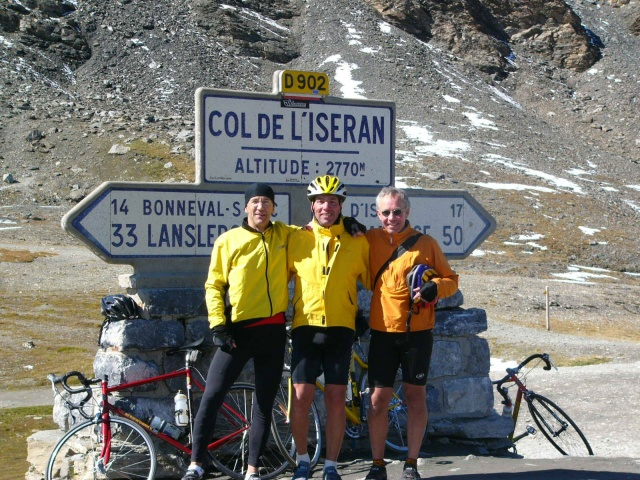 """A Strawberry makes it to the Col de L'Iseran, French alps, September 2005.  Jim Draudt, Rob Witsil and Dave Worthington made this the highest point of many highs during a week through the alps.  """"The Strawberry was fantastic"""" Draudt reported, """"light and tight going up, rock solid going down."""" ps.  Jim was paid very little for these glowing comments. Andy N."""