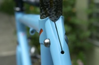 """Cristina's frameset 1405.  LAN71 designed integral seatpost binder turned from 7/8"""" diameter 4130 rod stock.  Clamping force is maintained by a 10mm. button head cap screw."""
