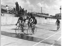 Frans and Nick Zeller Madison racing on the Alpenrose Velodrome in the 1960's.
