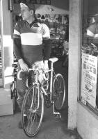 Frans Pauwels leaving his Kissler's Bike Shop on 4th. and S.W. Jefferson, downtown Portland, Oregon.