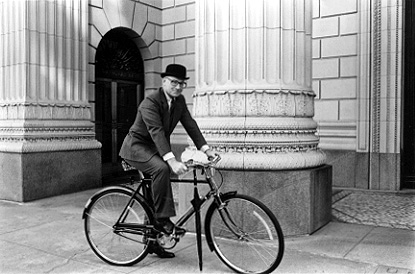 1978 photo of my father Mr. L.F. Newlands, V.P. of the Oregon Portland Cement Co.  Bicycle provided by Bruce Freeman who also took the photo in front of the US Bank building.  Bowler and fancy umbrella kindly provided by John Helmer Clothing Co.