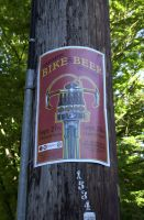 2014 Oregon Handmade Bike and Beer Festival poster on the telephone pole at SW 17th. and Market St.