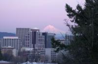 Mt. Hood over Portland 5:55pm Feb. 2006.