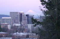 Mt. Hood over Portland 6:03pm. Feb. 2006.
