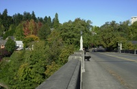 Pittock Mansion Walk, Autumn 2006.  View to the north down the Vista Bridge.  Production Manager Ollie in the distance.