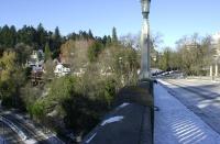 Snow day pics, December, 2008.  View north down Vista Bridge.